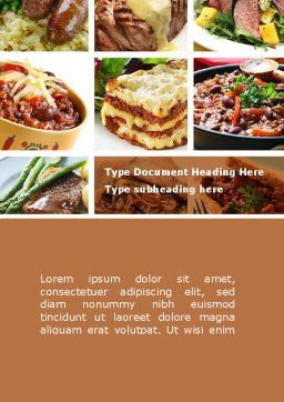Cooked Food Word Template, Cover Page, 08962, Food & Beverage — PoweredTemplate.com