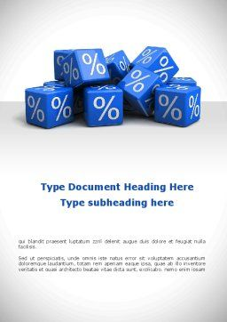 Percent Cubes Word Template, Cover Page, 08963, Financial/Accounting — PoweredTemplate.com