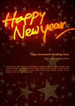 Happy New Year Theme Word Template, Cover Page, 08965, Holiday/Special Occasion — PoweredTemplate.com