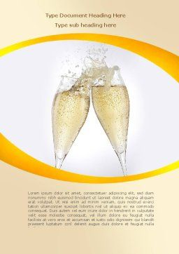 Splash Of Champagne Word Template, Cover Page, 08980, Food & Beverage — PoweredTemplate.com