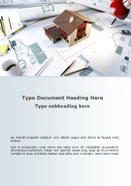 Brown Roof Cottage Construction Word Template, Cover Page, 08989, Construction — PoweredTemplate.com