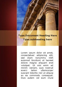 Classic Greece Portico Word Template, Cover Page, 08990, Education & Training — PoweredTemplate.com