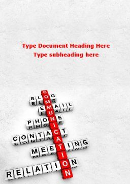 Modern Communication Crossword Word Template Cover Page