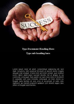 Key To Success In Your Hands Word Template, Cover Page, 08995, Business Concepts — PoweredTemplate.com