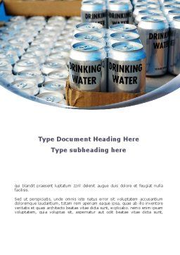 Cans of Water Word Template, Cover Page, 08999, Careers/Industry — PoweredTemplate.com