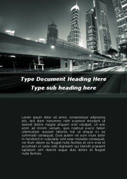 Night City Traffic Word Template, Cover Page, 09013, Construction — PoweredTemplate.com