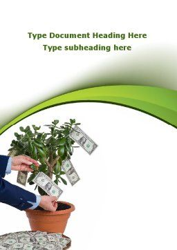 Money Tree Growing Word Template, Cover Page, 09015, Financial/Accounting — PoweredTemplate.com