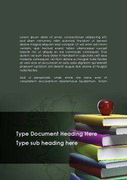 Books Stack and Apple Word Template Cover Page