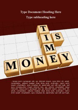 Time is Money In Cubes Word Template, Cover Page, 09027, Business Concepts — PoweredTemplate.com