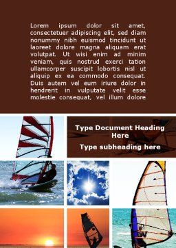Windsurfing Word Template, Cover Page, 09041, Sports — PoweredTemplate.com