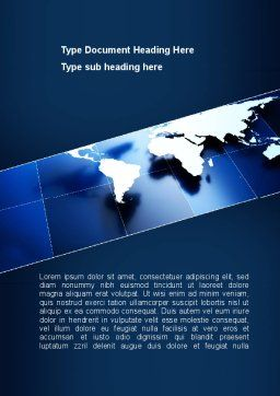 Deep Blue World Map Word Template Cover Page