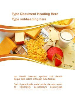 Hard Cheese And Milk Word Template, Cover Page, 09051, Food & Beverage — PoweredTemplate.com