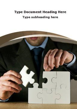 Puzzle Assembled Word Template, Cover Page, 09062, Business — PoweredTemplate.com
