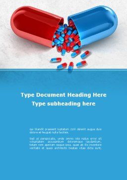 Red And Blue Pilule Word Template, Cover Page, 09066, Medical — PoweredTemplate.com