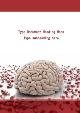 Human Brain Medicine Word Template, Cover Page, 09077, Medical — PoweredTemplate.com