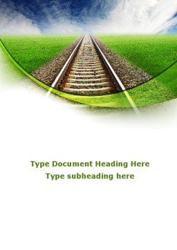 Railway Stretching Into The Blue Distance Word Template, Cover Page, 09084, Cars/Transportation — PoweredTemplate.com