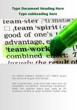 Teamwork Training Principles Word Template, Cover Page, 09094, Business — PoweredTemplate.com