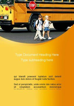 School Bus And Children Word Template, Cover Page, 09131, Education & Training — PoweredTemplate.com