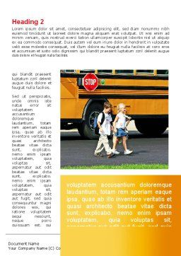 School Bus And Children Word Template, First Inner Page, 09131, Education & Training — PoweredTemplate.com