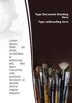Painting Brushes Word Template Cover Page