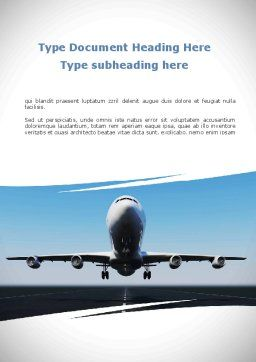 Air Plane Word Template Cover Page