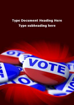 Vote Badges Word Template, Cover Page, 09149, Holiday/Special Occasion — PoweredTemplate.com