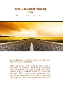 Road Into the Sunset Word Template, Cover Page, 09151, Cars/Transportation — PoweredTemplate.com