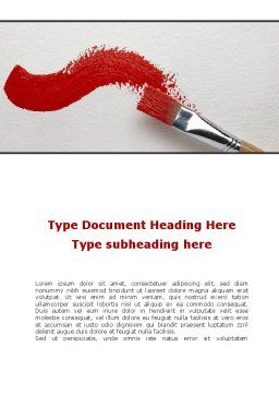 Red Paint Brush Word Template Cover Page