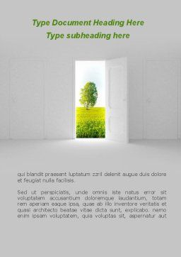 Door is Open Word Template, Cover Page, 09156, Nature & Environment — PoweredTemplate.com