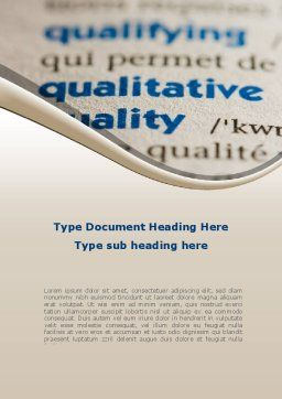 Meaning of Quality Word Template, Cover Page, 09160, Consulting — PoweredTemplate.com
