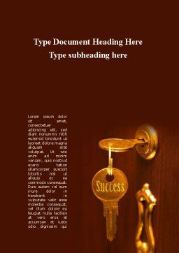 Key To Success Will Open The Door Word Template, Cover Page, 09164, Construction — PoweredTemplate.com