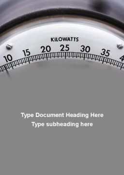 Wattmeter Word Template, Cover Page, 09165, Utilities/Industrial — PoweredTemplate.com