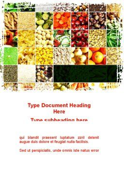 Foodstuffs Word Template, Cover Page, 09170, Agriculture and Animals — PoweredTemplate.com