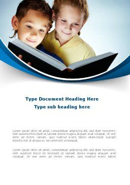 Reading Book in Early Childhood Word Template, Cover Page, 09173, People — PoweredTemplate.com