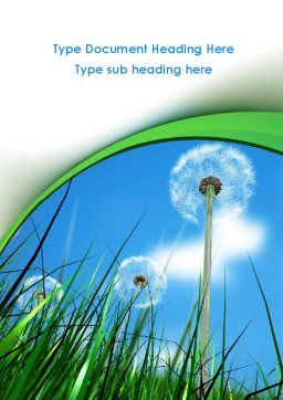 Dandelion Field Word Template, Cover Page, 09175, Nature & Environment — PoweredTemplate.com