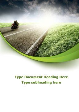 Bike On The Road Word Template, Cover Page, 09202, Cars/Transportation — PoweredTemplate.com