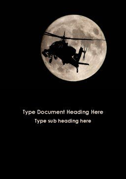 Attack Helicopter AH-64 Apache Word Template, Cover Page, 09203, Military — PoweredTemplate.com