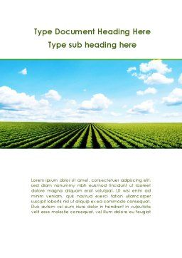 Cultivated Field Word Template, Cover Page, 09216, Agriculture and Animals — PoweredTemplate.com