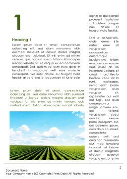 Cultivated Field Word Template, First Inner Page, 09216, Agriculture and Animals — PoweredTemplate.com