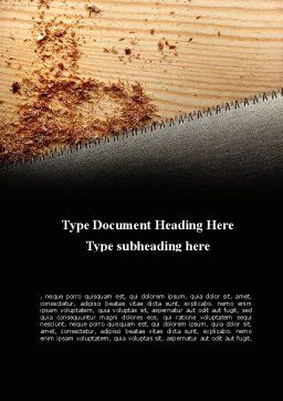 Saw Word Template, Cover Page, 09217, Construction — PoweredTemplate.com