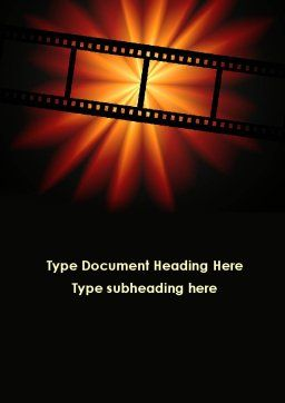 Film Strip In Dark Red-Yellow Colors Word Template Cover Page
