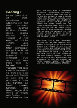 Film Strip In Dark Red-Yellow Colors Word Template First Inner Page