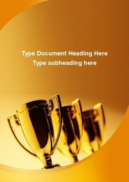 Winner Goblets Word Template, Cover Page, 09229, Sports — PoweredTemplate.com