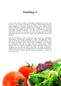 Salad with Tomatoes Word Template, Second Inner Page, 09230, Food & Beverage — PoweredTemplate.com