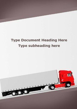 Truck Freight Word Template, Cover Page, 09241, Cars/Transportation — PoweredTemplate.com