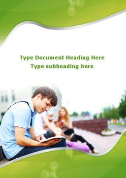 Student Reading a Book Word Template, Cover Page, 09242, People — PoweredTemplate.com