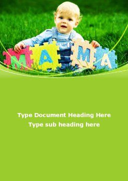 Baby with Mama Puzzle Word Template, Cover Page, 09253, People — PoweredTemplate.com