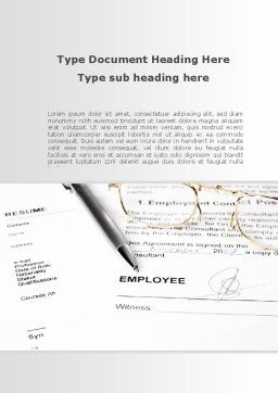 Employment Contract Word Template, Cover Page, 09256, Consulting — PoweredTemplate.com
