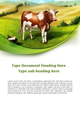 Cow On The Nature Word Template Cover Page