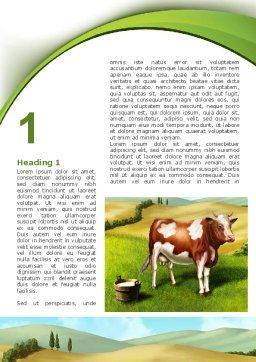 Cow On The Nature Word Template First Inner Page